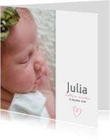 Geboortekaartje met roze hartje