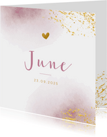 Geboortekaartje met roze waterverf en goudspetters