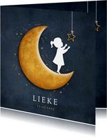 Geboortekaartje met silhouet van een meisje op gouden maan