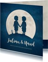 Geboortekaartje met silhouet van jongens tweeling in maan
