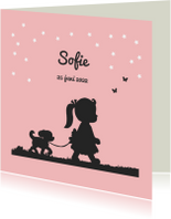 Geboortekaartje met silhouet van meisje en hondje