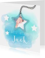 geboortekaartje met sterren en watercolord