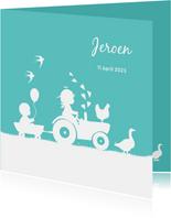 Geboortekaartje met tractor voor een broertje