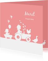 Geboortekaartje met tractor voor een zusje