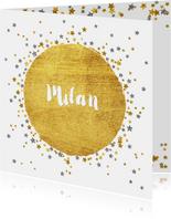 Geboortekaartje met vele sterretjes goud en zilver