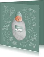 Geboortekaartje met zeedieren en een baby