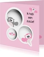 Geboortekaartje met zusje erbij - gezin uil van Mo Cards