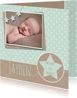 Geboortekaartje mint karton ster