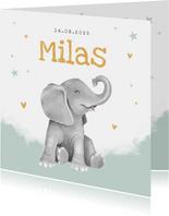 Geboortekaartje olifant jongen hartjes goud waterverf