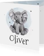 Geboortekaartje olifant jongen waterverf hartjes