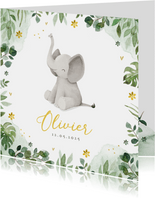 Geboortekaartje olifant jungle bloemen waterverf hartjes