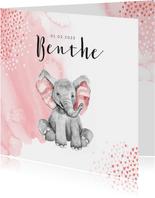 Geboortekaartje olifant waterverf hartjes roze meisje