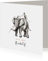 Geboortekaartje olifant waterverf vlaggen kraanvogel