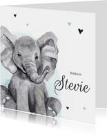 Geboortekaartje olifantje hip waterverf hartjes