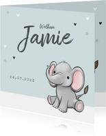 geboortekaartje olifantje unisex hartjes sterretjes