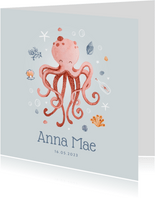 Geboortekaartje onderwater octopus schelpjes sterren
