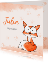 Geboortekaartje oranje - Lief klein vosje