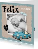 Geboortekaartje origineel en vintage met eigen foto