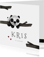 Geboortekaartje panda met takjes lief
