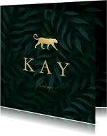 Geboortekaartje panter silhouet goud met jungle bladeren