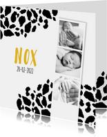 Geboortekaartje panterprint fotostrip zwart-wit