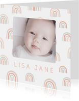 Geboortekaartje pastel regenbogen met foto