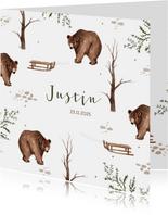 Geboortekaartje patroon beer slee waterverf takjes winter