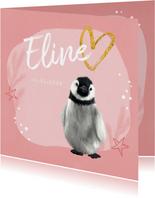 Geboortekaartje pinguin meisje sterren hartje goud