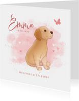 Geboortekaartje puppy roze achtegrond met hartjes vlinder