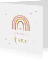 Geboortekaartje regenboog roze goudlook