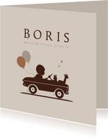 Geboortekaartje retro auto met ballonnen jongen