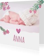 Geboortekaartje roze bloemetjes en foto
