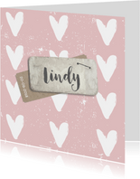 Geboortekaartje roze hart  label