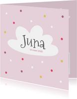 Geboortekaartje - roze met wolk en stippen