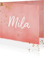 Geboortekaartje roze waterverf gouden spetters