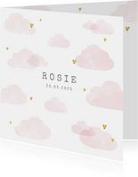 Geboortekaartje roze wolken hartjes goudlook