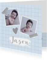 Geboortekaartje ruitpatroon foto's hartje