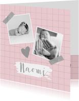 Geboortekaartje ruitpatroon foto's roze