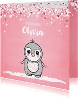 Geboortekaartje schattig roze kaartje met lieve baby pinguïn