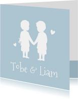 Geboortekaartje silhouet 2 jongens tweeling kleur aanpasbaar