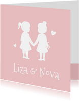 Geboortekaartje silhouet 2 meisjes tweeling kleur aanpasbaar
