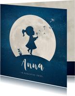 Geboortekaartje silhouet meisje met paardenbloem en maan