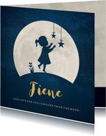 Geboortekaartje silhouet meisje met sterren bij volle maan