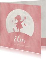Geboortekaartje silhouet meisje met vlinders en maan