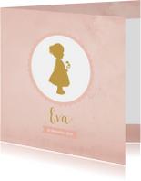 Geboortekaartje silhouet meisje roze aquarel - BC