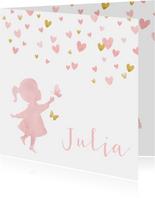 Geboortekaartje silhouet met vlinders waterverf roze en goud