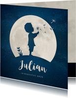 Geboortekaartje silhouet van jongen met paardebloem in maan
