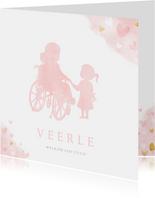 Geboortekaartje silhouet zusje met broer in rolstoel