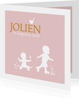 Geboortekaartje skate en rollerskate meisje