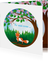 Geboortekaartje sprookje met vos